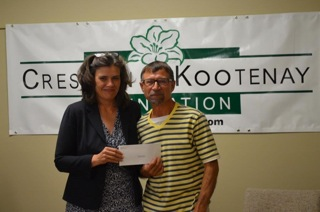 Simon Lazarchuk receiving grant from Creston Kootenay Foundation